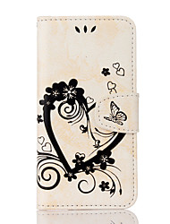 cheap -Phone Case For Full Body Case Leather Wallet Card iPhone SE / 5s Wallet Card Holder with Stand Heart Hard PU Leather