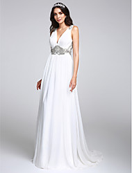 cheap -A-Line V Neck Sweep / Brush Train Chiffon Regular Straps Made-To-Measure Wedding Dresses with Crystal / Draping 2020