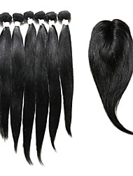 cheap -Indian Hair Straight Human Hair 230 g Hair Weft with Closure Human Hair Weaves Human Hair Extensions / Long