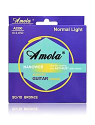 cheap -Amola A3200 011-050 Extra Light Bronze Phosphor Ulra Thin Coating ANTI-RUST Plain Steels Acoustic Guitar Strings