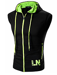 cheap -Men's Active Sleeveless Hoodie / Tank Top - Color Block / Letter Red L / Spring / Summer / Fall