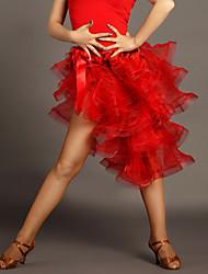 Недорогие -Латино Балетные пачки и юбки Жен. Выступление Вискоза Драпировка Без рукавов Средняя талия Юбки