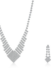 cheap -Women's Cubic Zirconia Jewelry Set Pendant Necklace Necklace / Earrings Personalized Tassel Vintage Fashion Sterling Silver Zircon Cubic Zirconia Earrings Jewelry Silver For Wedding Party Casual