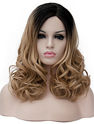 cheap -Synthetic Wig Curly Wig Medium Length Light Brown Synthetic Hair Women's Brown