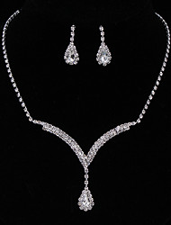cheap -Women's Crystal Jewelry Set Drop Earrings Pendant Necklace Pear Cut Solitaire Halo Drop Ladies Fashion Elegant Bridal everyday Iced Out Sterling Silver Rhinestone Earrings Jewelry White / Blue For
