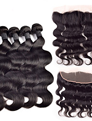 cheap -Indian Hair Body Wave 350 g Hair Weft with Closure Human Hair Weaves Human Hair Extensions