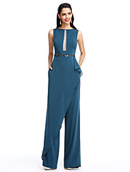 cheap -Jumpsuits Sheath / Column Elegant Prom Formal Evening Dress Bateau Neck Boat Neck Sleeveless Floor Length Chiffon with Sash / Ribbon Beading 2020