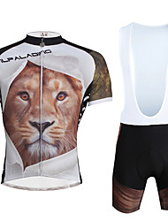 cheap -ILPALADINO Men's Short Sleeve Cycling Jersey with Bib Shorts Black Bike Clothing Suit Breathable 3D Pad Quick Dry Ultraviolet Resistant Reflective Strips Sports Lycra Fashion Clothing Apparel