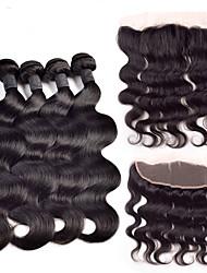 cheap -Brazilian Hair Body Wave Human Hair Hair Weft with Closure Human Hair Weaves Human Hair Extensions