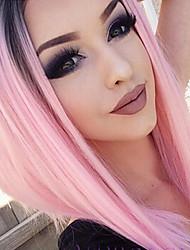Недорогие -Синтетические кружевные передние парики Прямой Прямой силуэт Лента спереди Парик Розовый Розовый Искусственные волосы Жен. Розовый