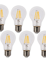cheap -6pcs 4 W LED Filament Bulbs 400 lm E26 / E27 A60(A19) 4 LED Beads COB Waterproof Decorative Warm White Cold White 220-240 V / 6 pcs / RoHS