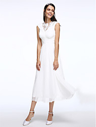 cheap -A-Line Jewel Neck Tea Length Chiffon Cap Sleeve Little White Dress Made-To-Measure Wedding Dresses with Ruched / Lace Insert 2020