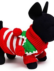 cheap -Cat Dog Sweater Winter Dog Clothes White Green Red Costume Cotton Stripes Holiday Keep Warm Christmas XXS XS S M L