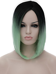 cheap -Synthetic Wig Straight kinky Straight kinky straight Straight Bob Wig Medium Length Light Blue Synthetic Hair Women's Middle Part Bob Natural Hairline Blue