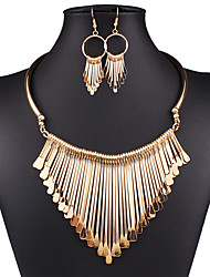 cheap -Women's Jewelry Set Drop Earrings Statement Necklace Statement Ladies Elegant Vintage Sexy European Earrings Jewelry Gold / Silver For Wedding Party Daily Casual / Bib necklace