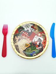 cheap -Christmas tipping paper plates six gold foil Christmas gift