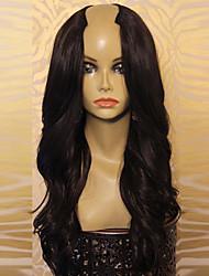 cheap -unprocessed 8a 100 virgin human hair brazilian long natural black color hair u part wigs wavy wig for women