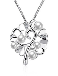 cheap -Women's Pendant Necklace Love European Fashion Synthetic Gemstones Pearl Sterling Silver White Necklace Jewelry For Party Daily Casual Valentine / Imitation Pearl / Silver Plated / Imitation Pearl