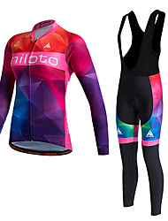 cheap -Miloto Women's Long Sleeve Cycling Jersey with Bib Tights - Red Bike Clothing Suit, Thermal / Warm, Quick Dry, Fleece Lining, Sweat-wicking, Winter, Polyester, Fleece Gradient / Stretchy / Plus Size
