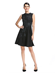 cheap -A-Line / Fit & Flare Jewel Neck Short / Mini Chiffon Cocktail Party / Prom / Holiday Dress with Appliques by TS Couture® / Little Black Dress