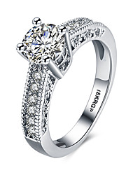 cheap -Women's Band Ring Statement Ring Diamond Cubic Zirconia Moissanite White Synthetic Gemstones Sterling Silver Zircon Ladies Personalized Fashion Wedding Party Jewelry Hollow Out Round Cut Halo Heart