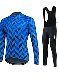 cheap -Fastcute Men's Long Sleeve Cycling Jersey with Bib Tights Winter Fleece Polyester Silicon White Plus Size Bike Clothing Suit Thermal / Warm Fleece Lining Breathable 3D Pad Quick Dry Sports Herringbone