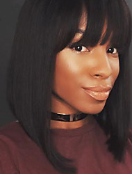 cheap -Human Hair Full Lace Wig style Straight Wig Natural Hairline African American Wig 100% Hand Tied Women's Short Medium Length Human Hair Lace Wig