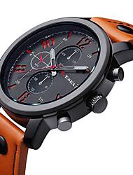 cheap -Men's Wrist Watch Aviation Watch Quartz Leather Black / Brown Casual Watch / Analog Charm Classic Fashion - Orange Brown Blue One Year Battery Life / Stainless Steel / Jinli 377