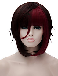 cheap -cosplay wigs wine red gradient wig short 12 inch Halloween