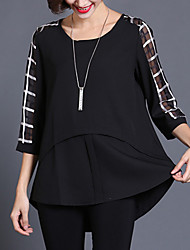 cheap -Women's Daily Weekend Street chic Plus Size Petal Sleeves Loose Blouse - Check Print Black / Silk / Summer
