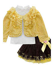cheap -Toddler Girls' Party Print Long Sleeve Cotton Clothing Set Yellow