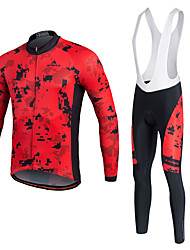 cheap -Miloto Men's Long Sleeve Cycling Jersey with Bib Tights Winter Lycra Polyester White Black Yellow Bike Jersey Tights Bib Tights Breathable 3D Pad Quick Dry Sweat-wicking Sports Sports Mountain Bike