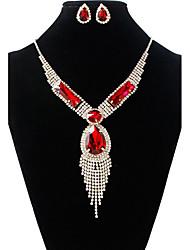 cheap -Women's Jewelry Set Necklace / Earrings Tassel Fashion Rhinestone Earrings Jewelry Gold / Red For Wedding Party