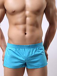 abordables -Homme Slips Couleur Pleine Taille Normale Noir Bleu clair Blanche M L XL