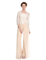 cheap -Sheath / Column Pantsuit / Jumpsuit Mother of the Bride Dress Convertible Dress Strapless Floor Length Chiffon Sheer Lace 3/4 Length Sleeve with Lace 2020 / Illusion Sleeve