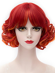 cheap -Synthetic Wig With Bangs Wig Short Red Synthetic Hair Women's Red