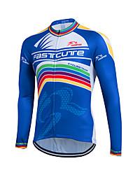 cheap -Fastcute Men's Long Sleeve Cycling Jersey Winter Fleece Coolmax® Velvet Dark Blue Bike Sweatshirt Jersey Top Mountain Bike MTB Road Bike Cycling Thermal / Warm Fleece Lining Breathable Sports
