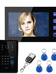 Недорогие -сенсорный ключ 7-дюймовый ЖК-RFID пароль один на один видеодомофон домофон с 700tvl cmos ИК-система контроля доступа к камере проводной настенный монтаж громкой связи