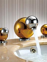 cheap -Art Deco/Retro Widespread Widespread Ceramic Valve Two Handles Three Holes Ti-PVD, Bathroom Sink Faucet
