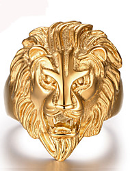 cheap -Men's Band Ring Statement Ring Golden 18K Gold Plated Stainless Steel Statement Personalized Vintage Christmas Gifts Wedding Jewelry Lion Animal Durable