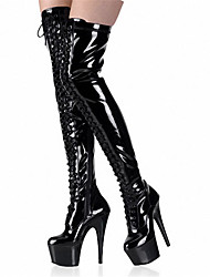 cheap -Women's Boots Sexy Boots Stiletto Heel / Platform Rivet Patent Leather Fashion Boots / Club Shoes Summer / Fall / Winter Black / Gray / Red / Party & Evening / Knee High Boots / EU39