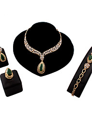 cheap -Women's Jewelry Set Statement Ring Pear Cut Link / Chain Statement Ladies Vintage European Fashion Earrings Jewelry Green For Wedding Party Daily Casual Work / Rings / Necklace / Bracelets & Bangles