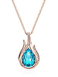 cheap -Women's Bohemian Bohemian Pendant Necklace Sterling Silver / Cubic Zirconia / Opal Blue / Navy / Light Blue
