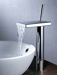 cheap -Bathroom Sink Faucet - Waterfall Chrome Vessel One Hole / Single Handle One HoleBath Taps / Brass