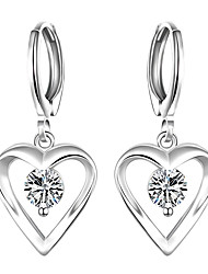 cheap -Women's Cubic Zirconia Drop Earrings Heart Love Ladies Luxury Tassel European Fashion Sterling Silver Zircon Cubic Zirconia Earrings Jewelry White For Party Daily Casual Valentine / Silver Plated