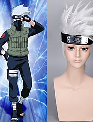 cheap -hokage wig with hair accessories free japanese short silver white shaggy naruto hatake kakashi cosplay wig Halloween