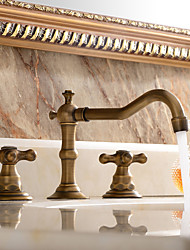 cheap -Brass Bathroom Faucet, Brushed Finish Antique Copper Two Handles Three Holes Widespread Bathroom Sink Faucet Contain with Cold and Hot Switch