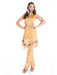 cheap -American Indian Cosplay Costume Party Costume Women's Halloween Festival / Holiday Terylene Women's Carnival Costumes Solid Colored