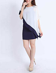 cheap -Women's Sheath Dress Short Mini Dress Screen Color White Short Sleeve Color Block Layered Summer Round Neck Asymmetrical M L