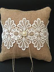 cheap -Rhinestone / Embroidery / Ribbons Linen Ring Pillow Beach Theme / Garden Theme / Vegas Theme Spring / Summer / Fall